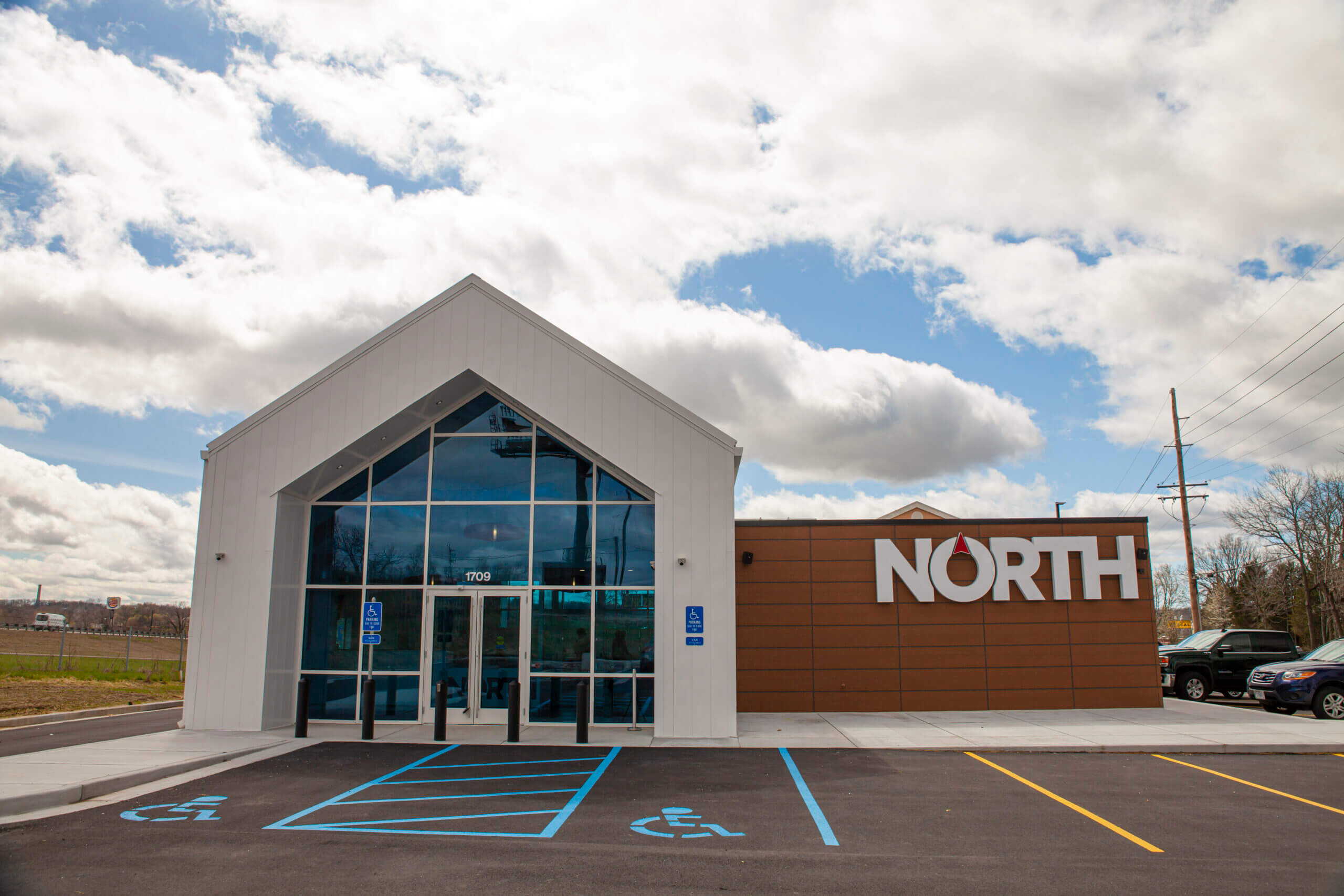 North Medical dispensary building exterior and parking lot